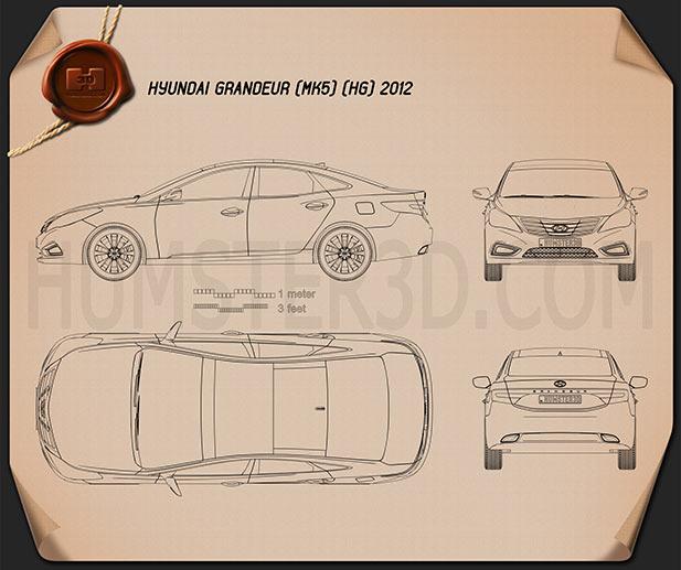 Hyundai Grandeur (HG) 2012 Blueprint