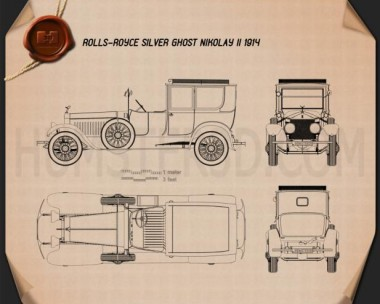 Rolls-Royce Silver Ghost Nicholas II 1914 Blueprint