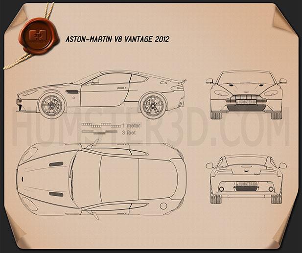 Aston Martin V8 Vantage 2012 Blueprint