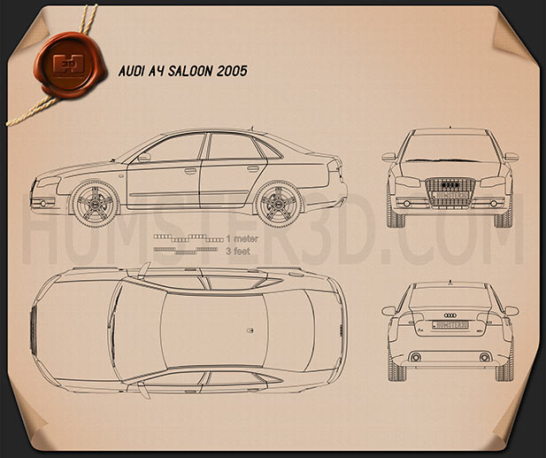 Audi A4 Saloon 2005 Blueprint