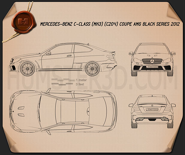 Mercedes-Benz C-Class 63 AMG Coupe Black Series 2012 Blueprint
