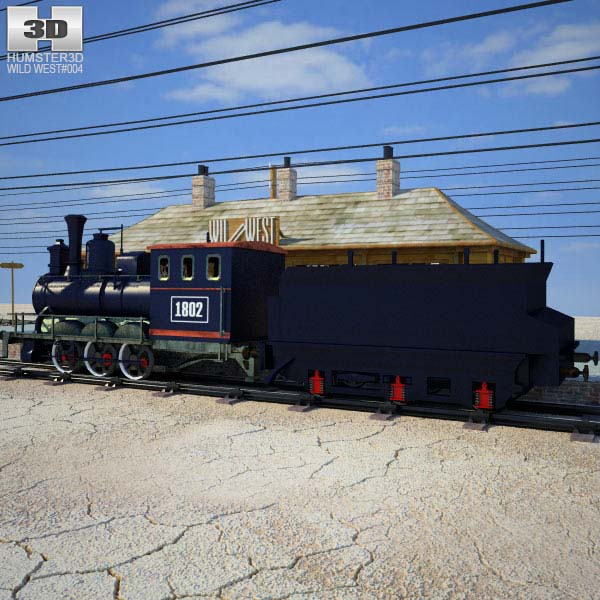 Wild West RailStation with Train 3d model