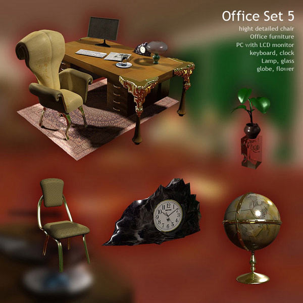 Office Set 05 3d model