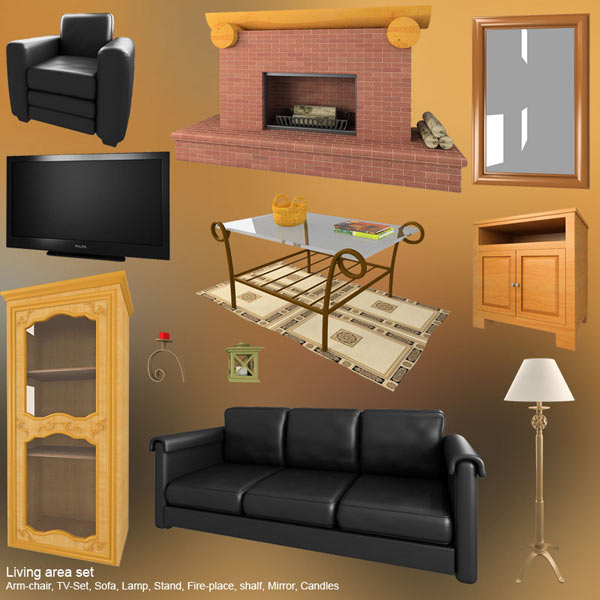 Living Room Set 01 3d model