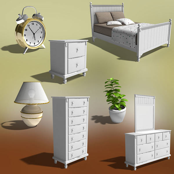 Bedroom Furniture 06 Set 3d model