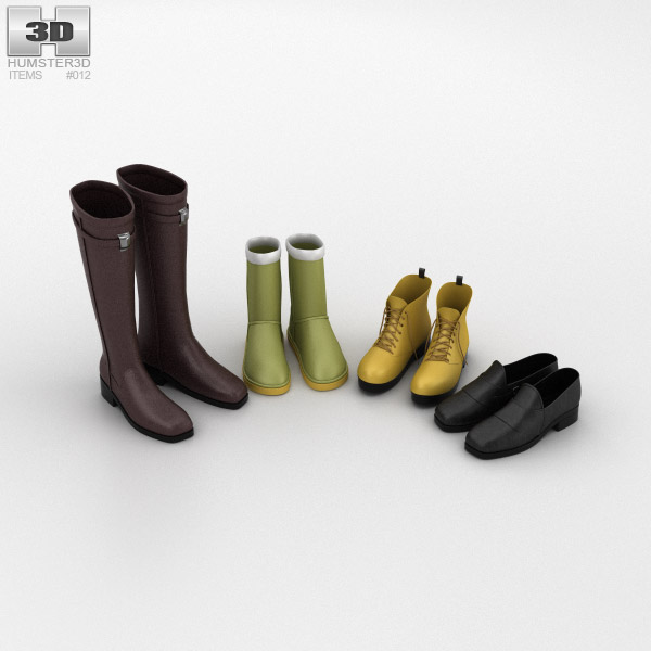 Footwear Set Winter 3d model