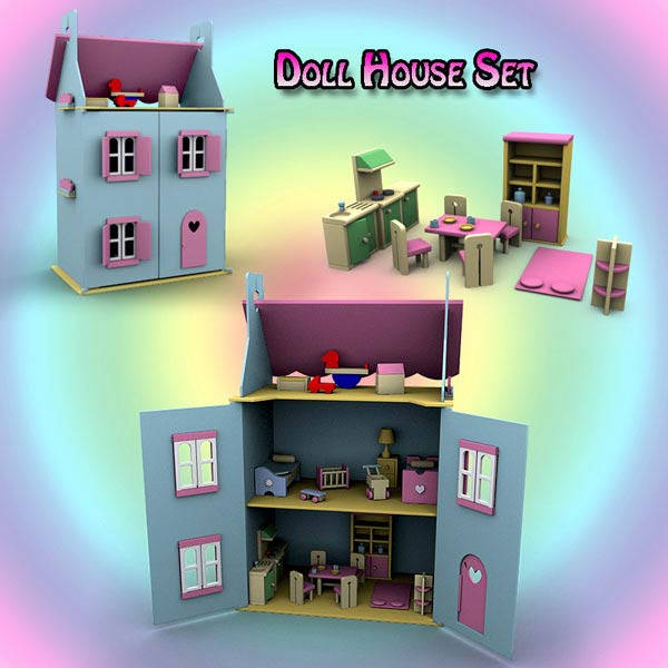 Doll House Set 01 3d model