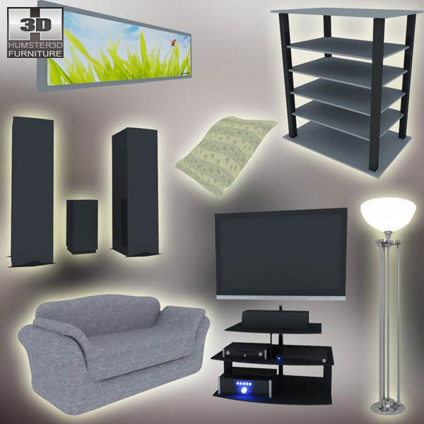 Home theater set 03 3d model hum3d Home 3d model