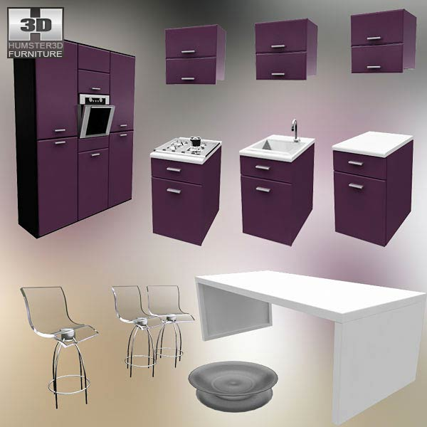 Kitchen Set I3 3d model