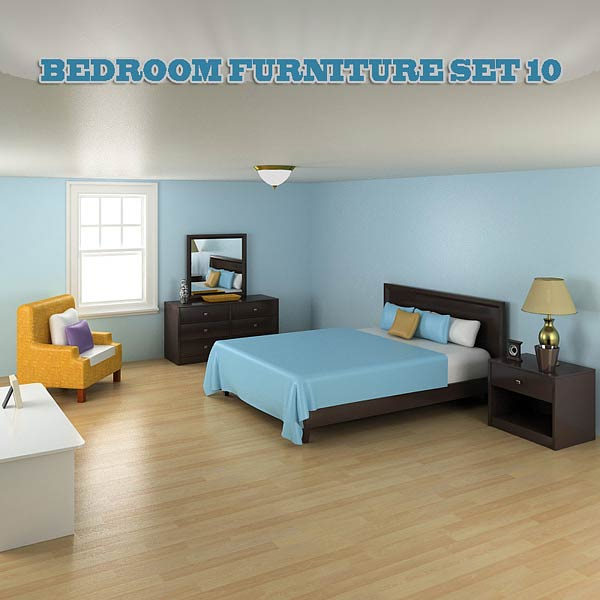 Bedroom Furniture 10 Set 3d model