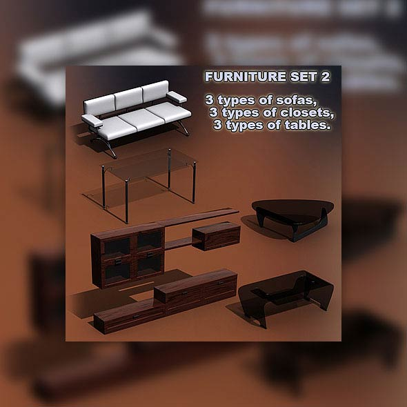Furniture Set 02 3d model