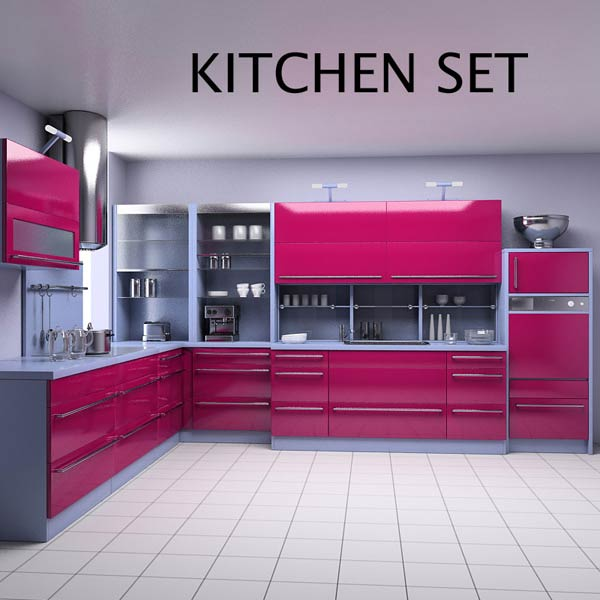 Kitchen set p2 3d model hum3d for Model kitchen set sederhana