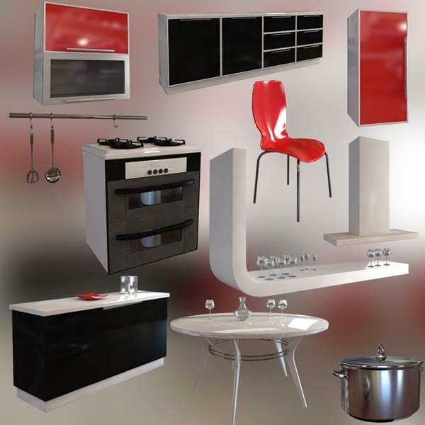 Kitchen Set P4 3d model