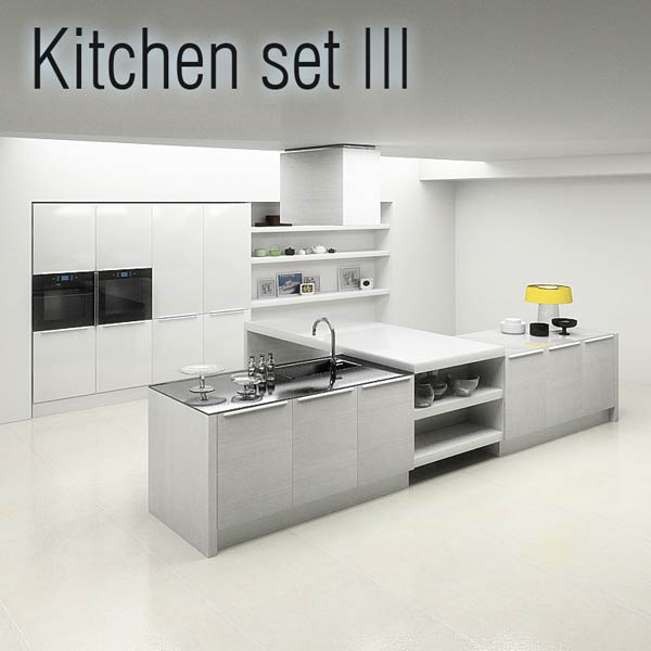 Kitchen set p3 3d model hum3d for Kitchen modeler