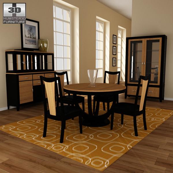 Dining room 03 set 3d model hum3d for Dining room 3d model