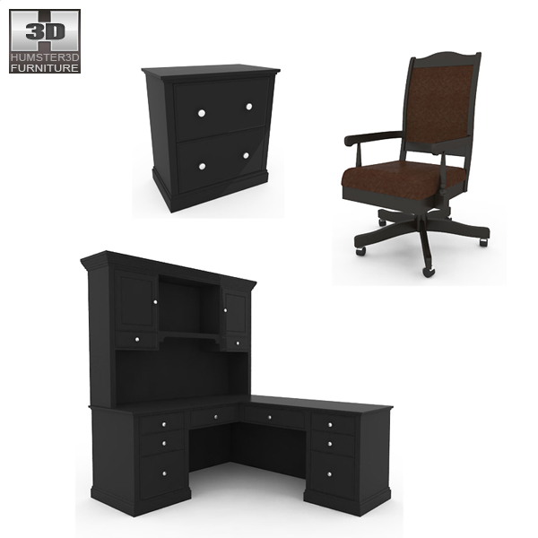 Home Workplace Furniture 06 Set 3d model