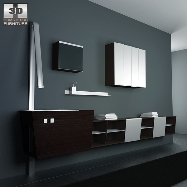 Bathroom furniture 05 set 3d model hum3d for Bathroom design 3d model