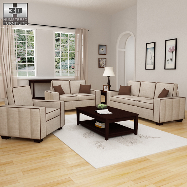 Model Living Room Delectable Living Room Furniture 07 Set 3D Model  Hum3D Decorating Design
