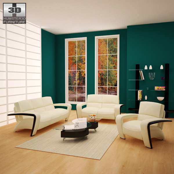 Living room furniture 08 set 3d model hum3d for Living room designs 3d model