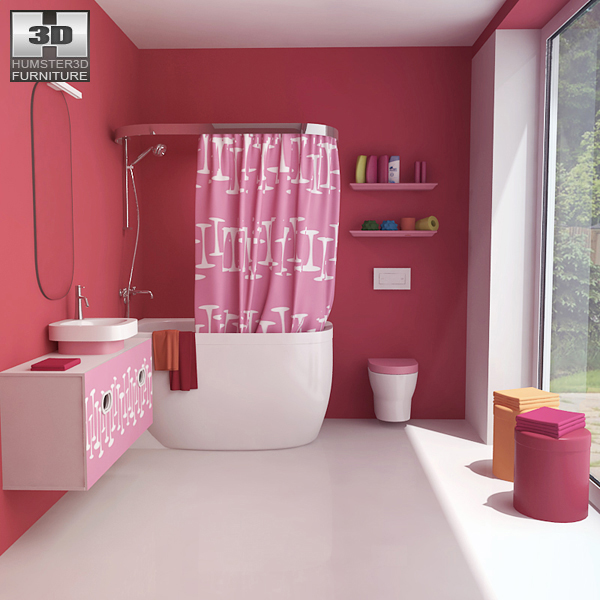 Bathroom 3D Model Bathroom 07 Set 3D Model  Hum3D