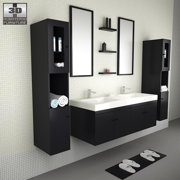 Bathroom furniture 08 set 3d model hum3d for Model bathroom designs