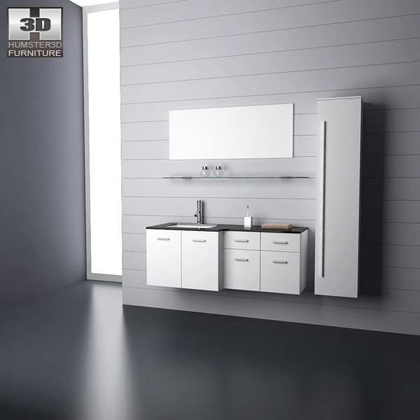 Bathroom furniture 09 set 3d model hum3d for Bathroom design 3d model