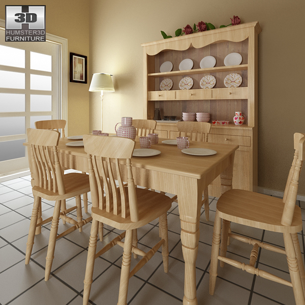 Dining Room Furniture 6 Set 3d model
