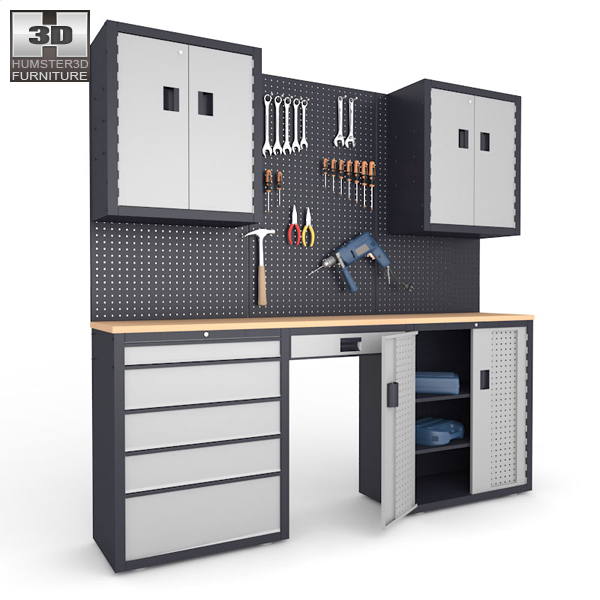 Garage 03 Set - Furniture and Tools 3d model
