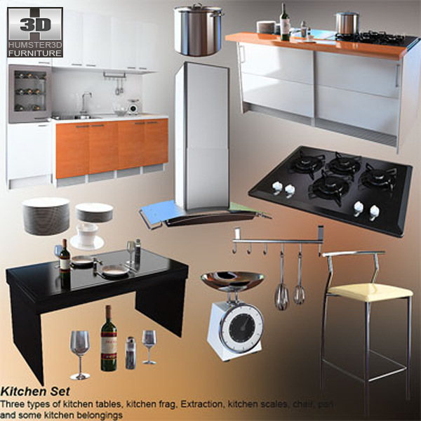 Kitchen set 4 3d model hum3d for Model kitchen set sederhana