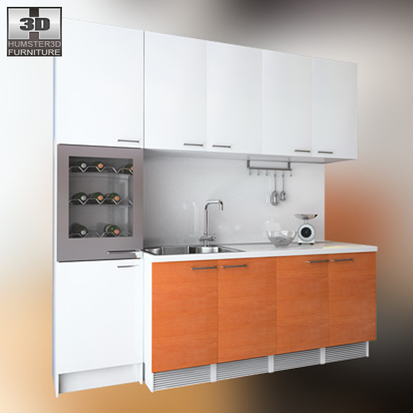 Kitchen set 4 3d model hum3d for Kitchen set 3d warehouse