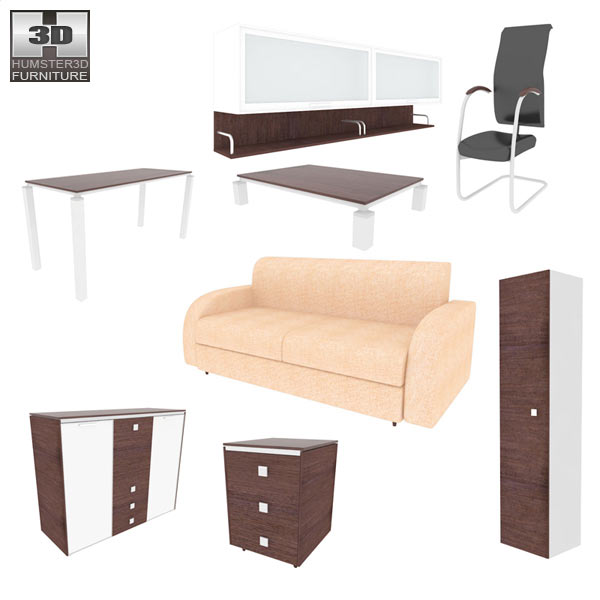 Living Room Furniture 10 Set 3d model