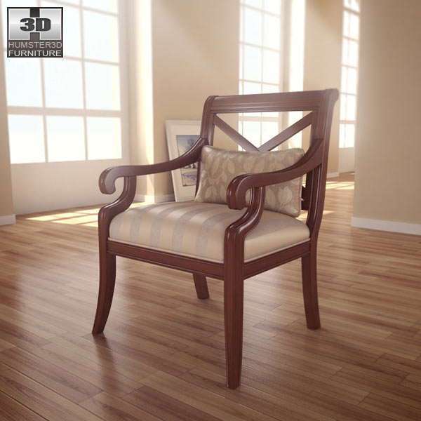 X Back Accent chair 3d model