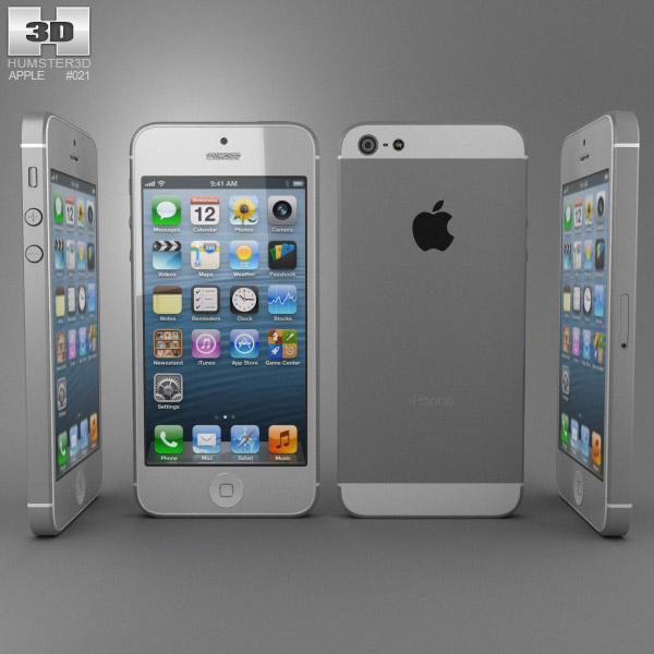 iphone 5 models apple iphone 5 white 3d model hum3d 11013