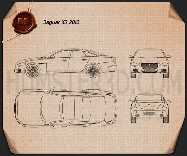 Jaguar XJ (X351) 2010 Blueprint