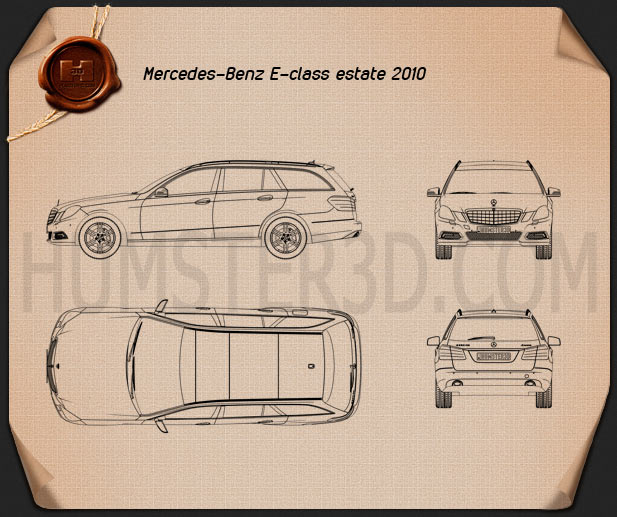 Mercedes-Benz E-Class 2010 Estate Blueprint