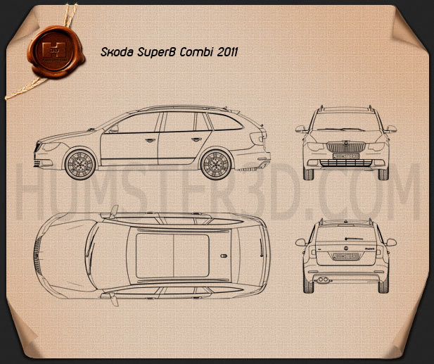Skoda Superb (B6) Combi 2011 Blueprint