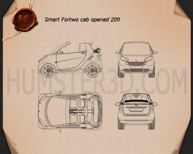 Smart Fortwo 2011 Convertible Open Top Blueprint