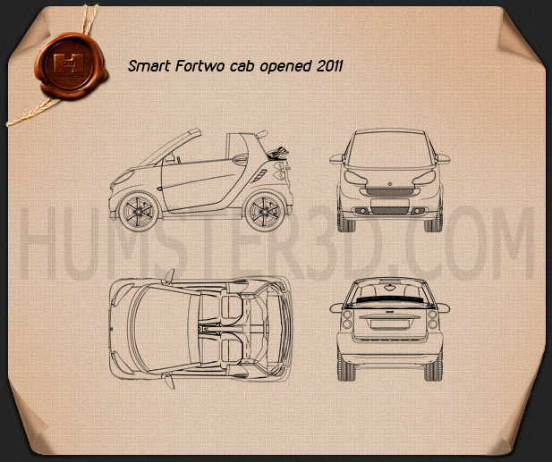 Smart Fortwo 2011 Convertible Open Top Blueprint