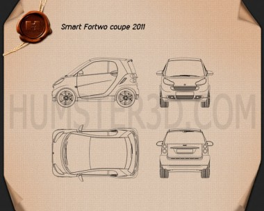 Smart Fortwo 2011 Convertible Hard Top Blueprint