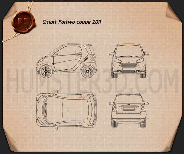 Smart Fortwo 2011 Convertible Hard Top Blueprint