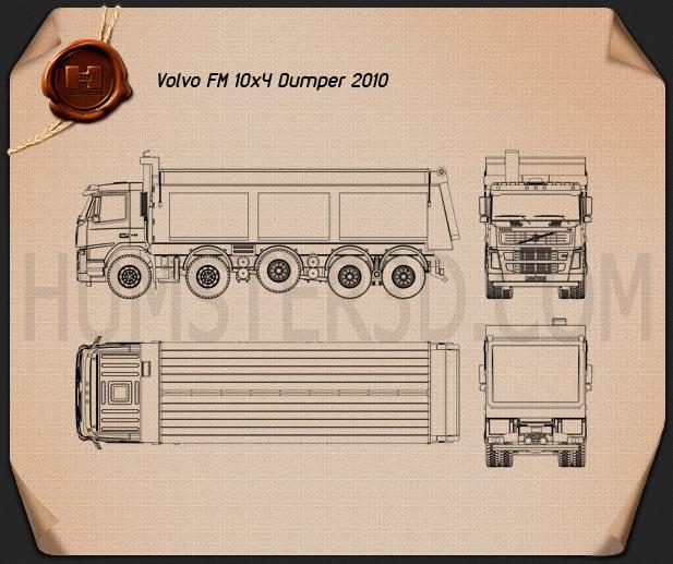 Volvo Truck 10×4 Dumper 2010 Blueprint