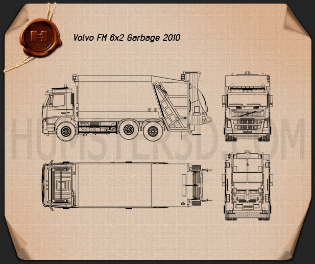 Volvo Truck 6×2 Garbage 2010 Blueprint