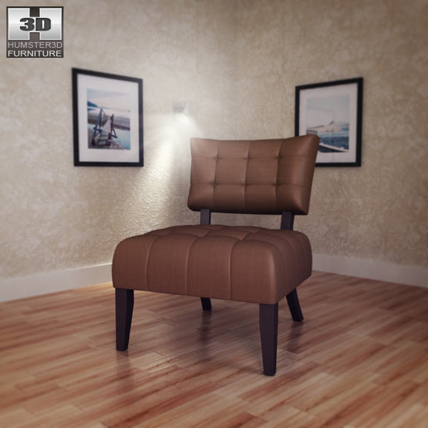 Beige Microfiber Chair – Allen Park 3d model