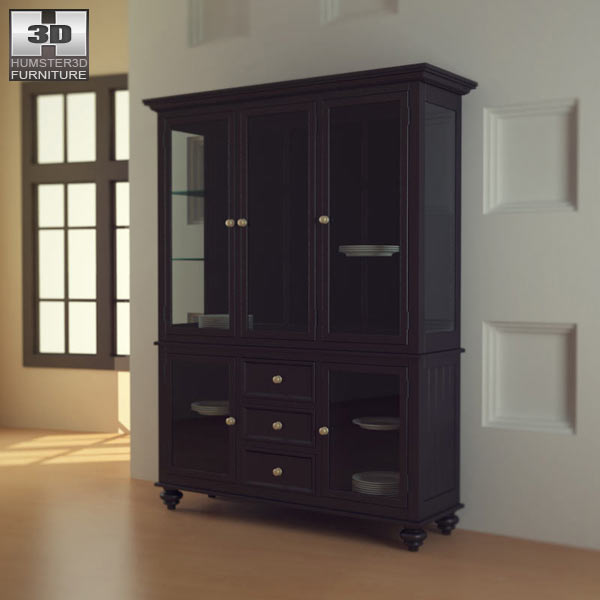 Black Camden China Cabinet Lea American Drew 3d Model