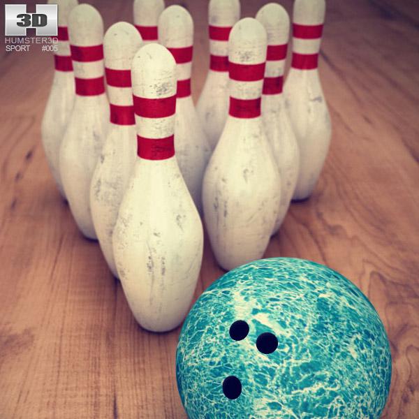 Bowling Pins & Ball Set 3d model
