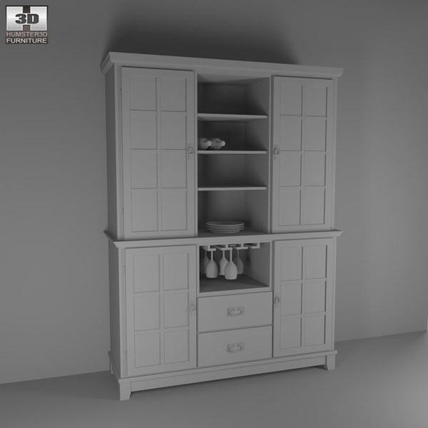 Buffet and Hutch in Ebony – Arts and Crafts 3d model