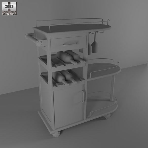 Entertainment Wine Cart – Winsome Trading 3d model