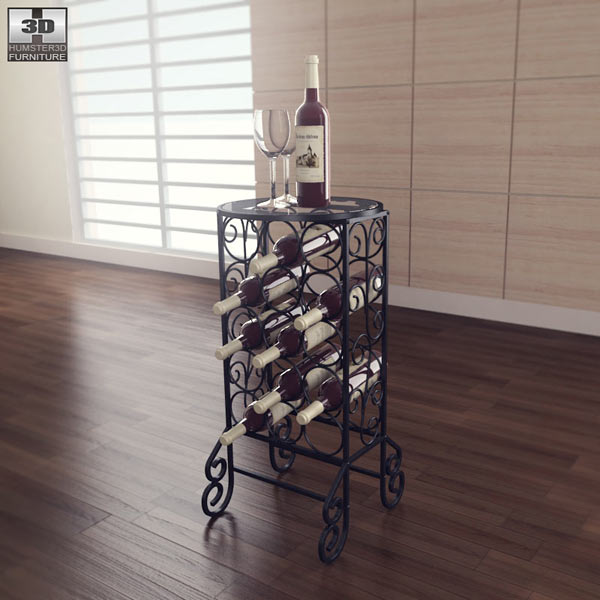 Glass Top Wine Table – Southern Enterprises 3d model