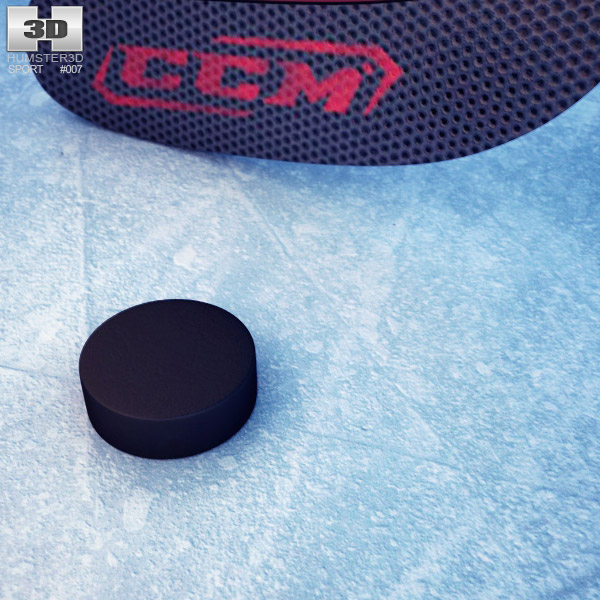 Hockey Stick and Puck 3d model