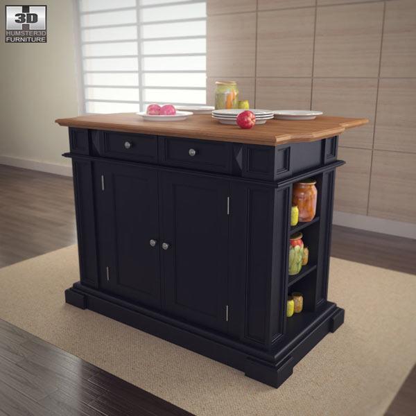 Mobile Kitchen Island 3d Model: Kitchen Island In Black With Oak Top 3D Model